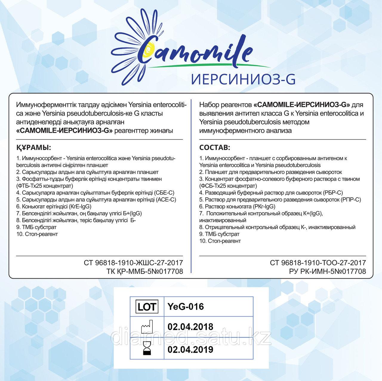 ИФА реагенты CAMOMILE-Иерсиниоз-G