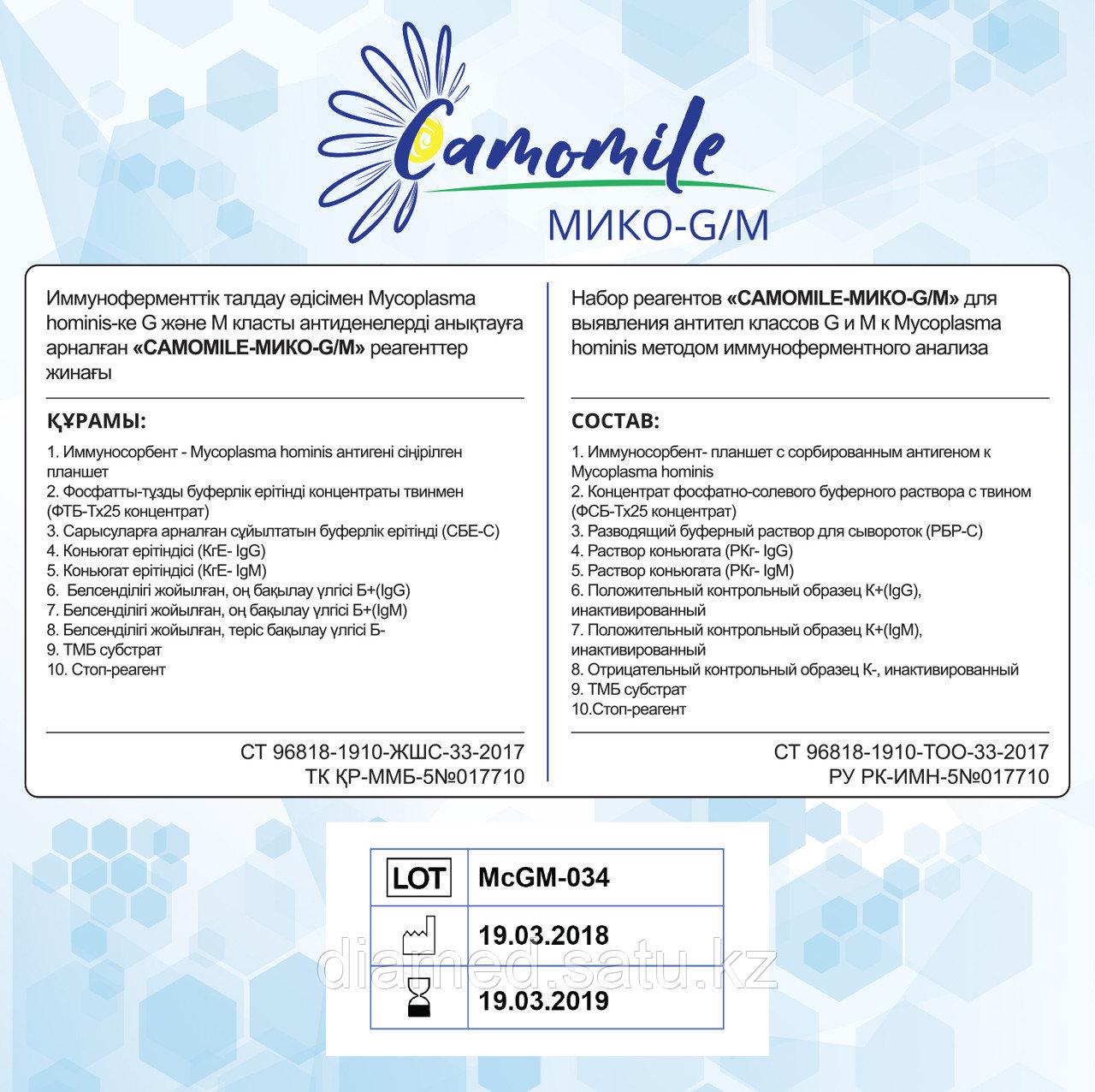 ИФА реагенты CAMOMILE-Мико-G/М