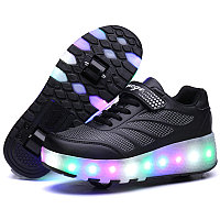 Роликовые кроссовки Aimoge LED Light Black, фото 1