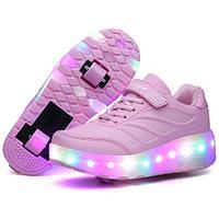 Роликовые кроссовки Aimoge LED Light Pink