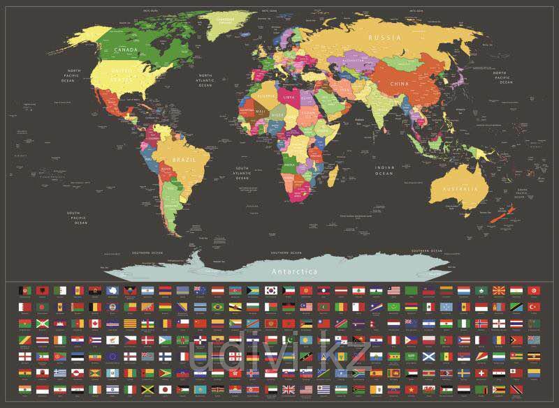 Новая черная скретч карта мира