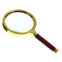 Лупа 6х, d=5 см, пластик, с коричневой ручкой, золотая