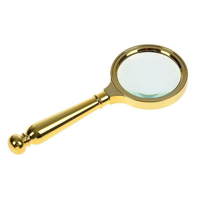 Лупа 4х, d=7 см, ручка в форме капли, пластик, золотая, 15 см