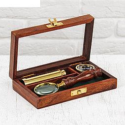 """Набор """"Джентльмен"""" (труба, лупа, компас) 16х9,5х3,7 см"""