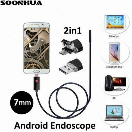 Технический USB эндоскоп 2 в 1 для смартфона Android и ПК (гибкий эндоскоп, 5 м)
