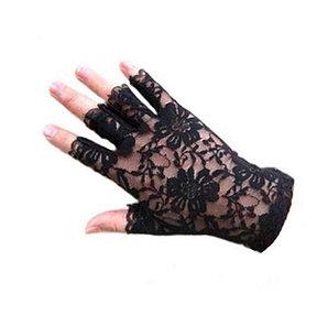Ажурные перчатки с открытыми пальчиками, чёрные