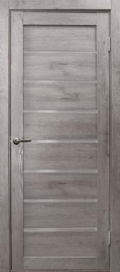 Дверь Линия, цвет дуб дымчатый, матовое стекло
