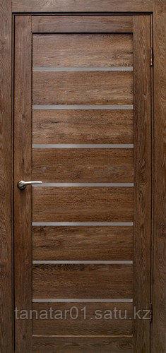 Дверь Линия, дуб шоколадный, матовое стекло
