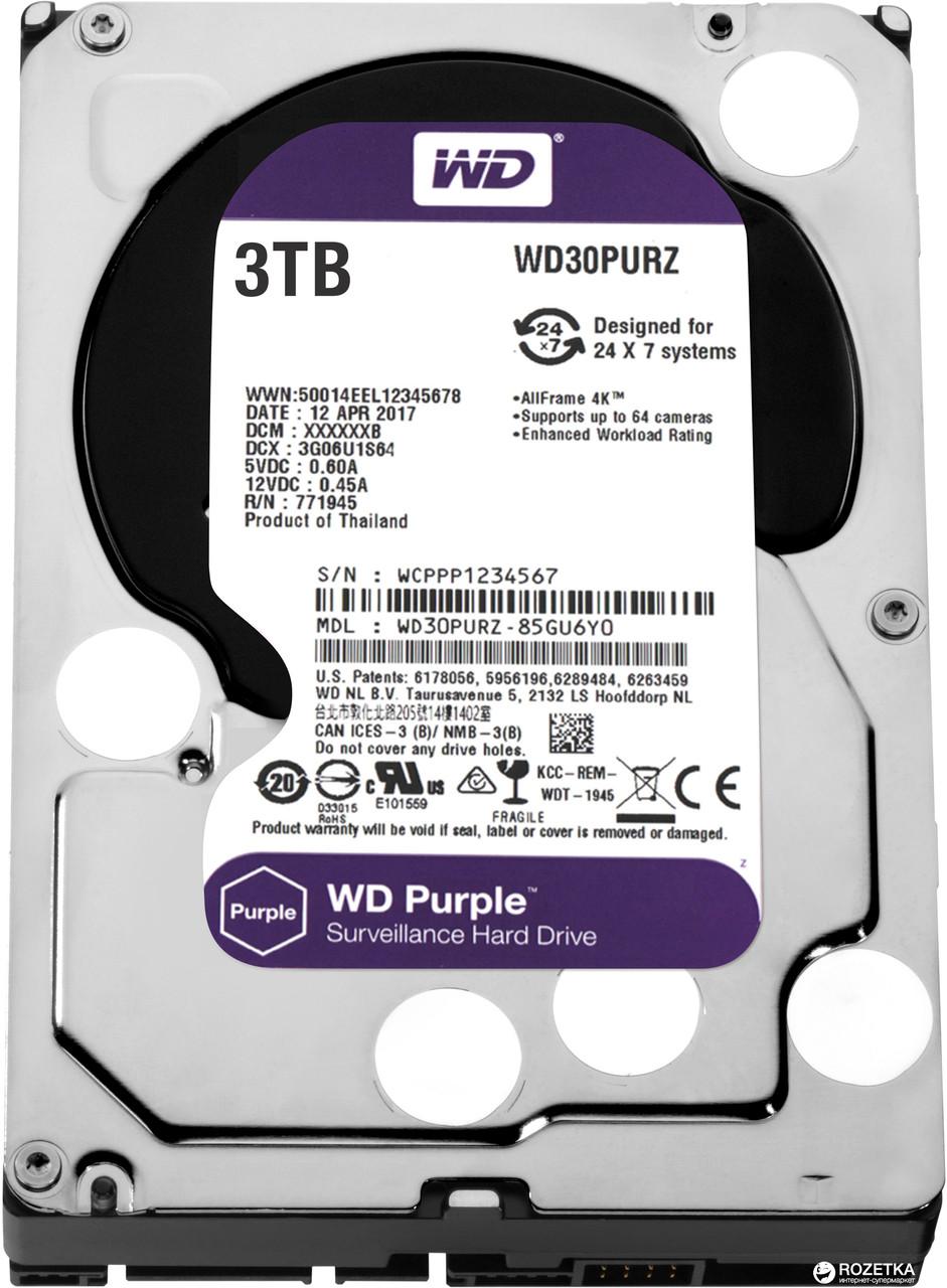 """Western Digital WD30PURZ Жесткий диск для видеонаблюдения HDD 3Tb Purple SATA 6Gb/s 64Mb 3,5"""""""