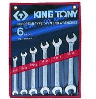 Набор рожковых ключей, 8-19 мм, 6 предметов KING TONY 1106MR