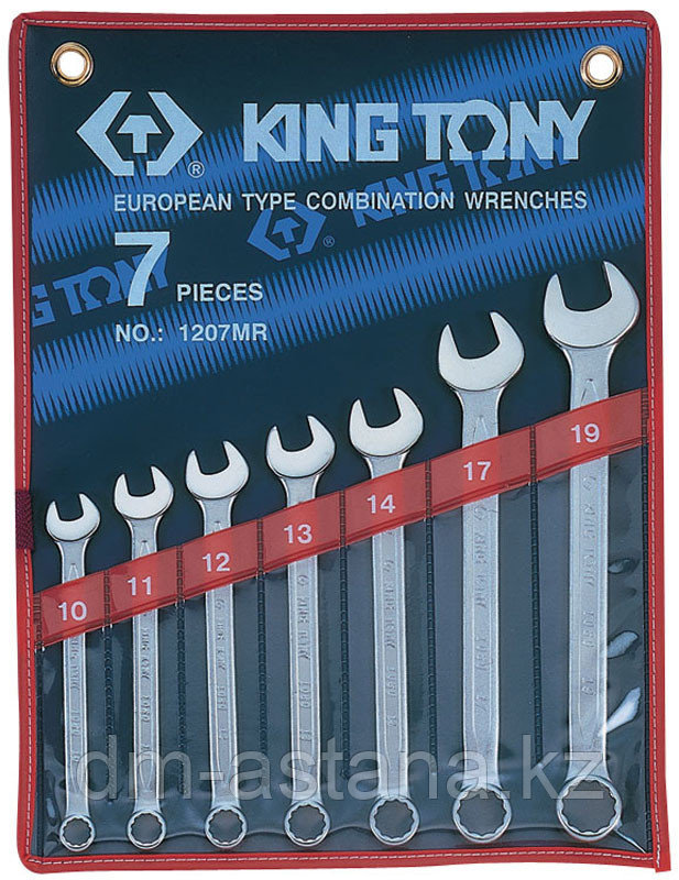 Набор комбинированных ключей, 10-19 мм, 7 предметов KING TONY 1207MR