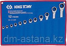 Набор комбинированных трещоточных ключей, 8-24 мм, чехол из теторона, 12 предметов KING TONY 12112MRN