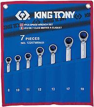 Набор комбинированных трещоточных ключей, 8-19 мм, чехол из теторона, 7 предметов KING TONY 12207MRN01