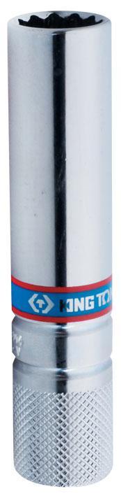 """Головка свечная двенадцатигранная 3/8"""", 14 мм, L = 113 мм, резиновый фиксатор KING TONY 36C014"""