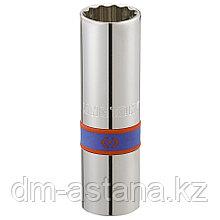 """Головка свечная двенадцатигранная 1/2"""", 16 мм, L = 70 мм, резиновый фиксатор KING TONY 463016R"""