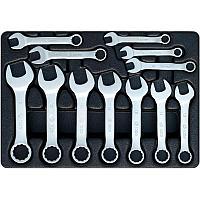 Набор укороченных комбинированных ключей, ложемент, 12 предметов KING TONY 9-1282MR