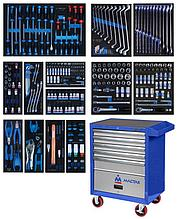 Набор инструментов в синей тележке, 286 предметов KING TONY 934-010MMB
