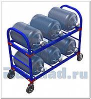 Стеллаж передвижной для 19-литровых бутылей с водой ТСВД-6 (без колес), 125 мм+20 000 т,  160 мм+28 000 т.
