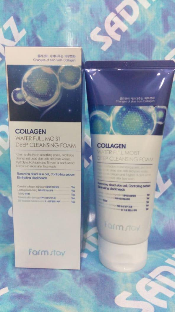 Farm Stay Collagen Water Full Moist Deep Cleansing Foam - Увлажняющая пенка для умывания с коллагеном