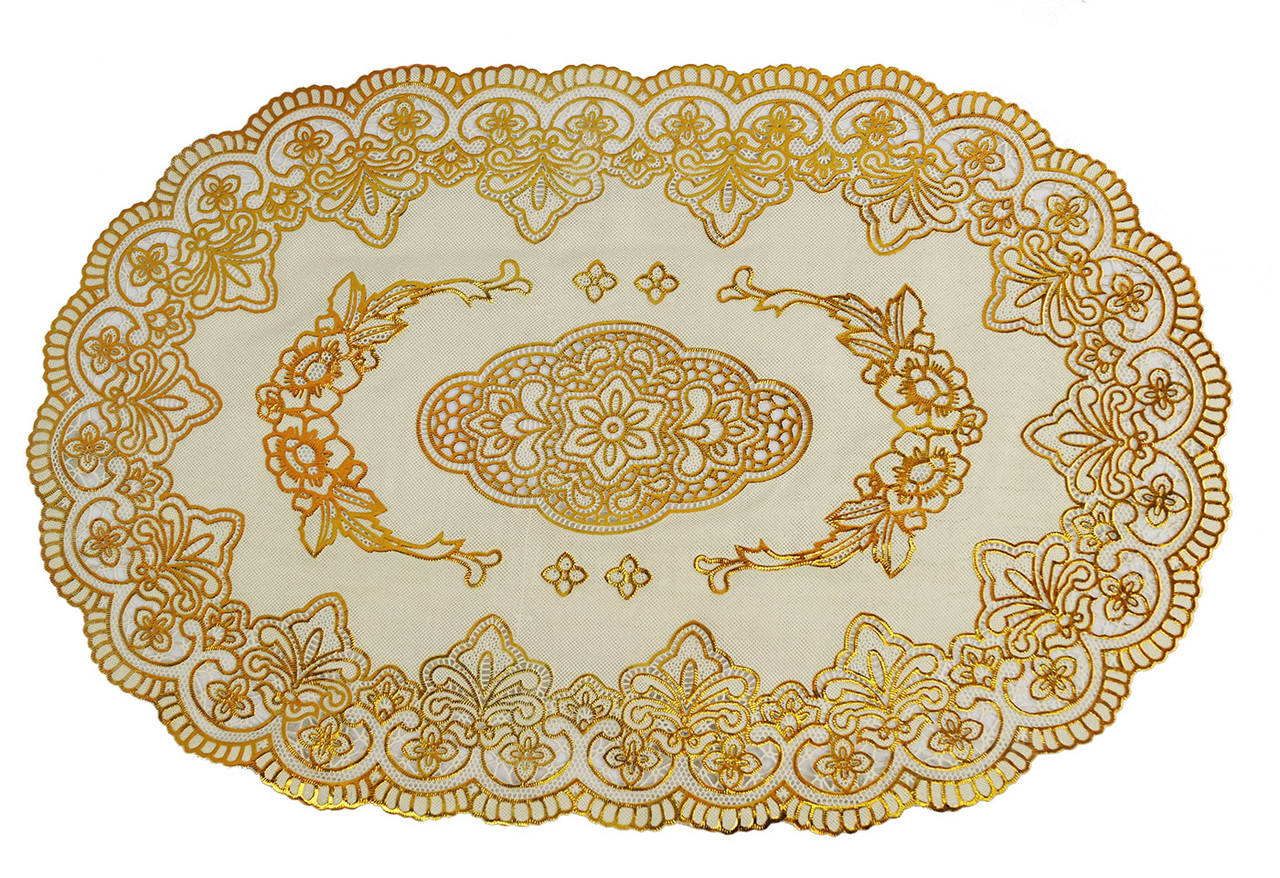 Овальная салфетка с золотым декором 45х30 см