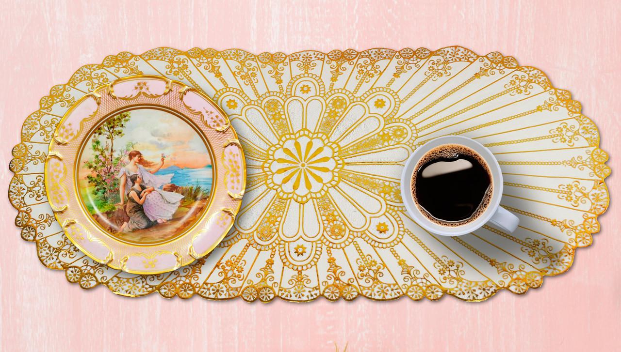 Овальная салфетка с золотым декором 83х40 см