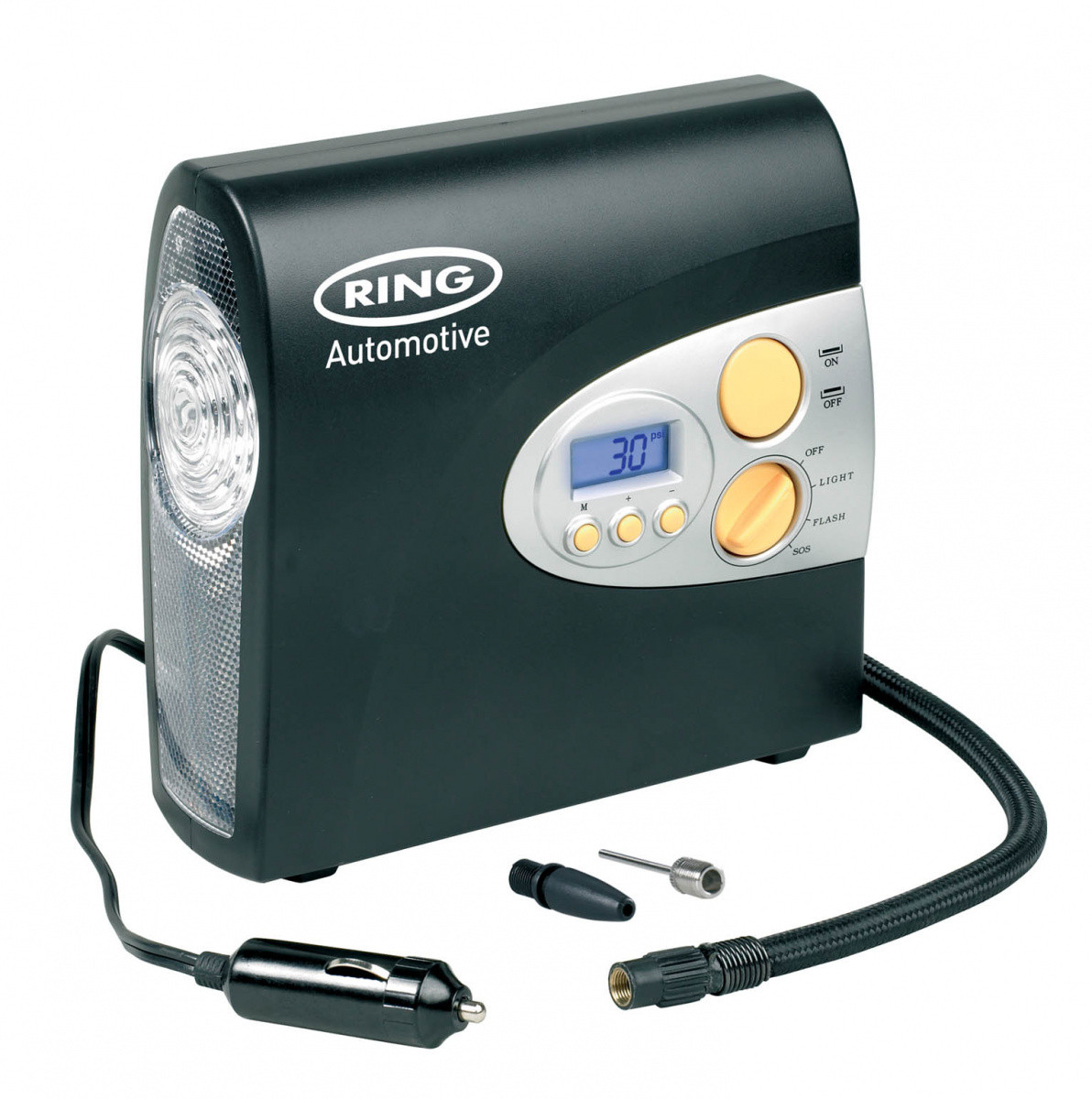 Компрессор автомобильный цифровой с фонарем Ring Automotive