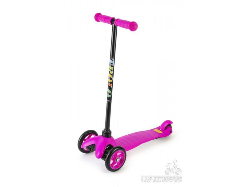 Самокат трехколесный 21st scooter maxi со светящимися колесами (розовый)