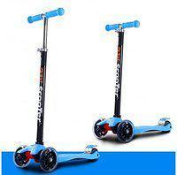 Самокат трехколесный 21st scooter maxi со светящимися колесами (голубой)