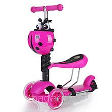 Самокат трехколесный Scooter 3 в 1 со съемным сиденьем (розовый)