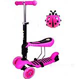 Самокат трехколесный Scooter 3 в 1 со съемным сиденьем (розовый), фото 2