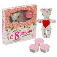 Набор игрушка и 3 свечи 'С 8 марта'
