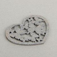 Декор 'Сердце с бабочками', серебряный блеск, 12 х 12 см