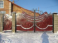 Кованные ворота с калиткой