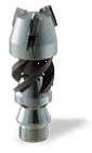 Цилиндрическая вращающаяся винтовая каналопромывочная насадка с режущими пластинами