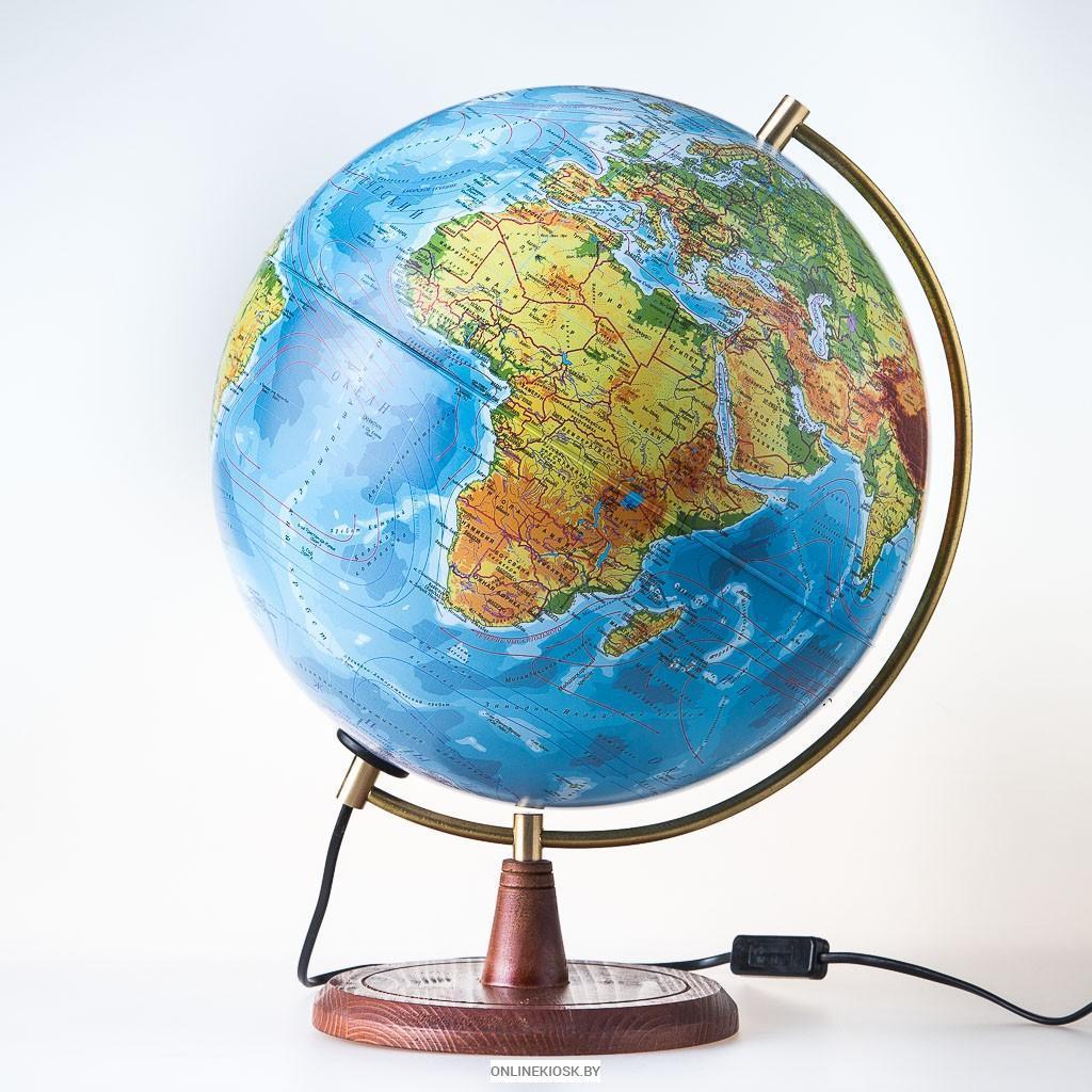 """Глобус на деревянной подставке физический диаметр 250мм """"Элеганс"""", с подсветкой"""