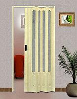 Раздвижные двери гармошка (0,87см Х 2м,030см) Китай Ванил дл.стекло