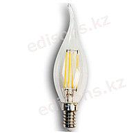DLL-CA35-6 Светодиодная лампа филамент свеча на ветру Е14-6Вт 2700К.ОПТОМ