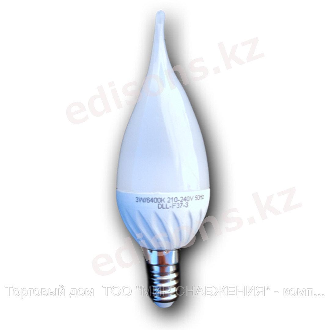 DLL-F37-7 Светодиодная лампа свеча на ветру Е14-7Вт 6000К.ОПТОМ