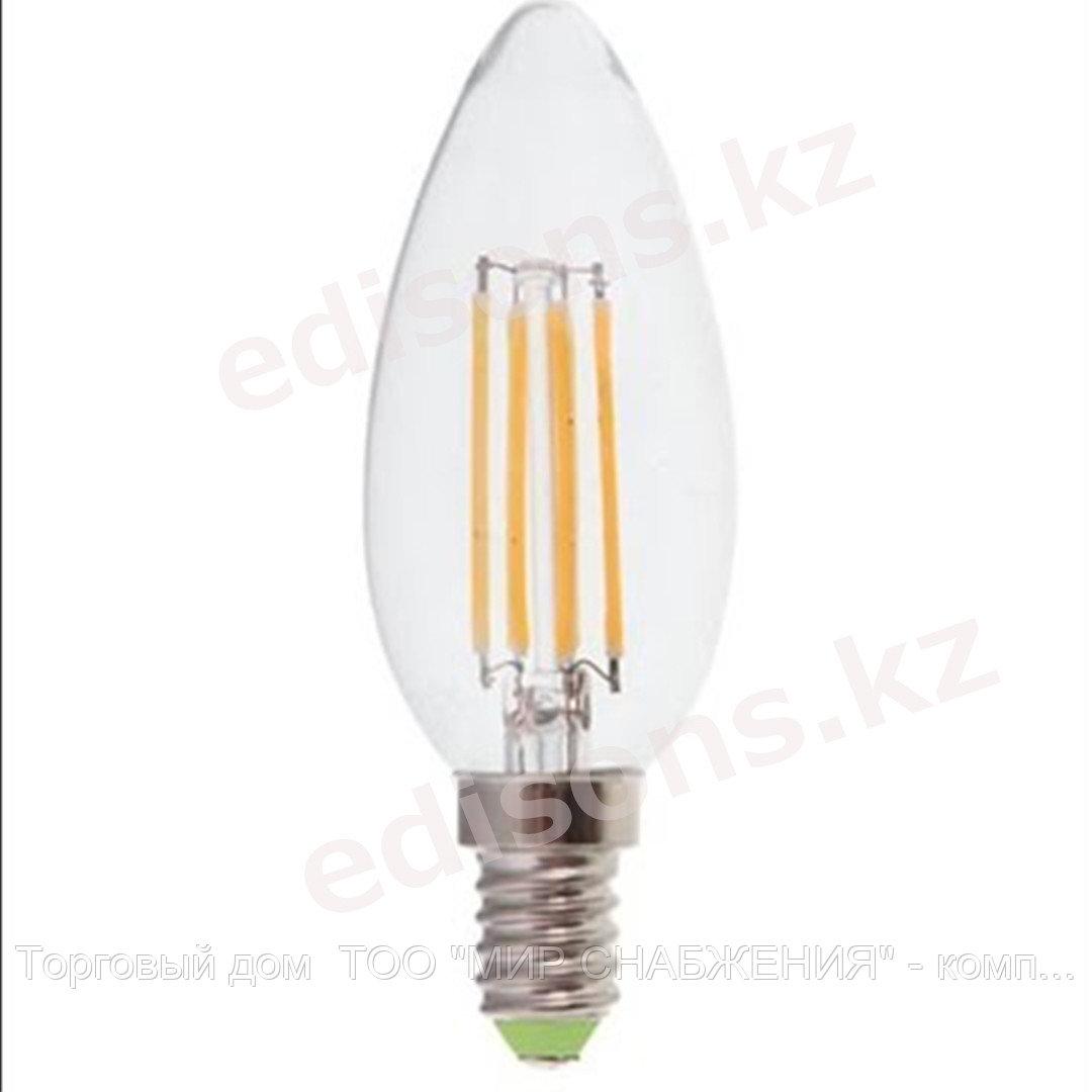 DLL-FF37-6 Светодиодная лампа филамент свеча на ветру Е14-6Вт 4000К.ОПТОМ