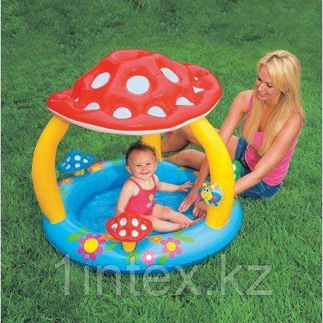 Надувной детский бассейн Intex «Мухомор» с навесом