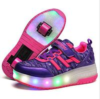 Роликовые кроссовки FASHION с подсветкой фиолетовые