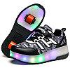 Роликовые кроссовки FASHION с подсветкой серо-черные