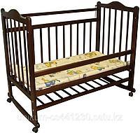 Детская кроватка колесо-качалка (темная)