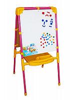 Детский двусторонний мольберт с большим пеналом (голубой)