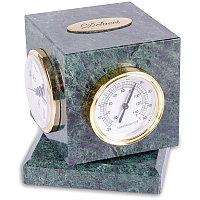 Куб вращающийся с часами, термометром, гигрометром, зеленый мрамор