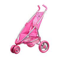 Коляска для кукол прогулочная розовая (поворотные передние колеса)