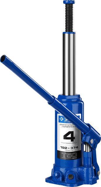 Домкрат гидравлический бутылочный T50, 4т, 192-374мм, ЗУБР Профессионал 43060-4