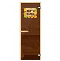 Стеклянные двери для бани и сауны с рисунком