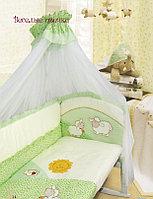 Комплект для кроватки Золотой гусь Веселые Овечки 7 предметов салатовый