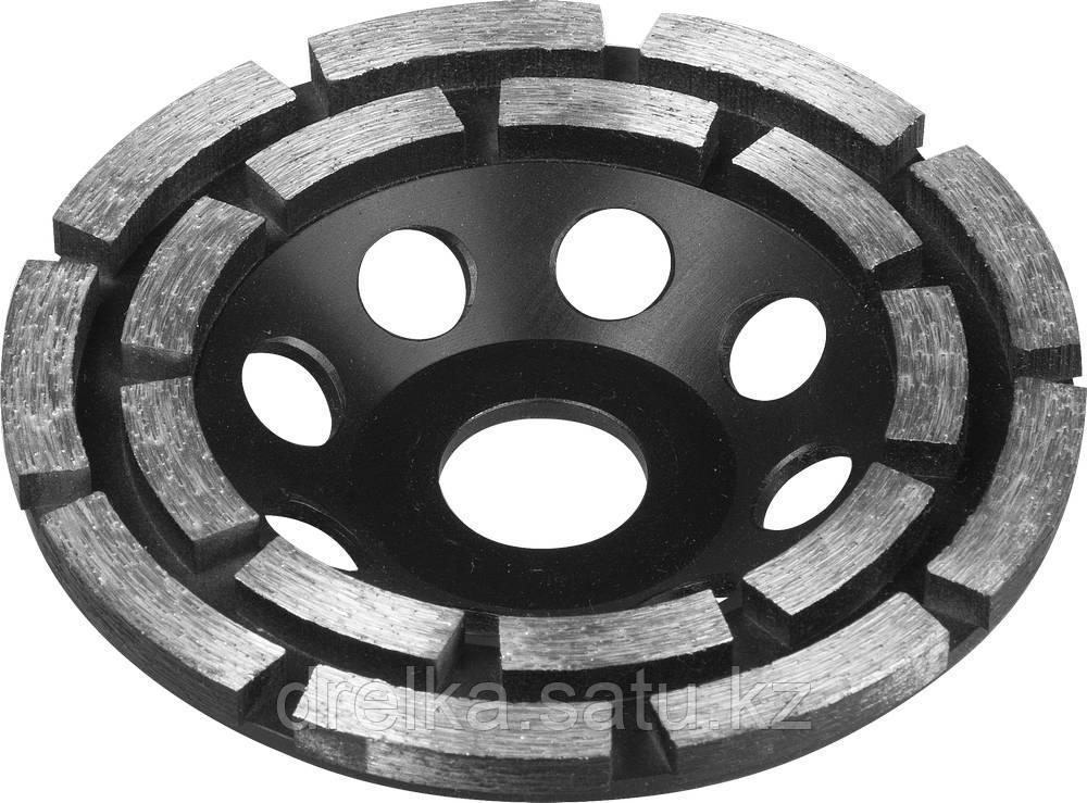 Чашка ЗУБР алмазная сегментная двухрядная, высота 22.2мм, 115 мм.